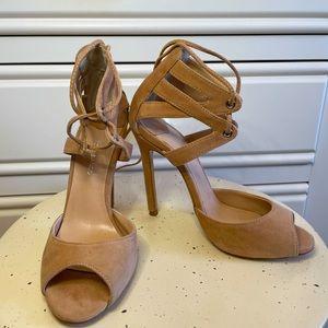 Tony Bianco - Beige Suede Leather Strappy Heels.